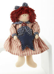 New Primitive Country Americana Patriotic RAGGEDY ANN DOLL With STAR 12quot; $16.99