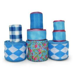 27 Yards Pool Water Blue and Pink Coordinating Wired Ribbon Lot $17.00