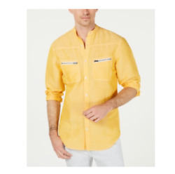 INC Men#x27;s Band Collar Shirt Color: Sparkling Sun Size: XL MSRP: $65 $29.99