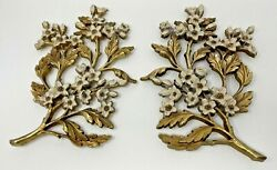 Vintage Wall Flower Art Set 2 Gold White Soroco $34.99