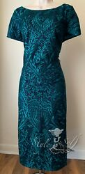 JS Collections EMBROIDERED COCKTAIL MIDI SHEATH DRESS NWT Size 10 $49.50