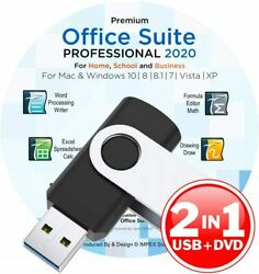 Office Suite 2020 USB DVD Compatible with Microsoft® Word® Excel® Windows MAC $16.97