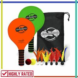 PADDLE BALL GAME Jazzminton with LED Birdie Indoor Outdoor Games Toys FUNSPARKS $31.33