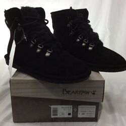Bearpaw Womens Kerri Wide Ankle Boots Black Round Toe Lace Up Leather 9 W EUR 40 $23.96