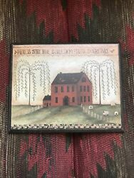 Primitive Wood Sign Red House Sheep Country Decor $14.50