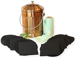 Gardenatomy Copper Kitchen Compost Bin Indoor Countertop – LARGE 1.3 Gallon Food $62.57