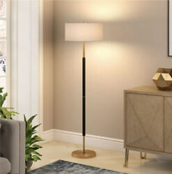 Henn amp; Hart Black and Brass Floor Lamp FLO159 $84.99