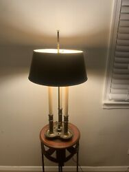 "Vintage Stiffel Brass Bouillotte 3 Candle Desk Table Lamp w Shade 27 30"" Tall $200.00"