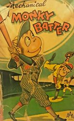 Tin Windup Toy Mechanical Monkey Batter Japan AAA Wind Up Antique With Box $495.00