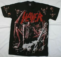 Slayer All Over Print Bootleg Reproduction Vintage Shirt L Double Sided Metal $89.99