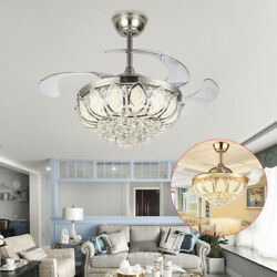 42quot; Chandelier Crystal LED Ceiling Fan Light Fixture Pendant Hanging Lamp Remote $113.01