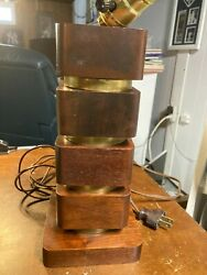 Mid Century Modern Rotating Sections Wooden Table Lamp 10.5quot; $45.00