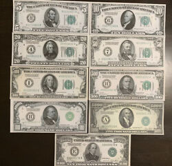 Reproduction 1928 Federal Reserve Note Set $5 $10000 Complete Set 9 Notes $18.99