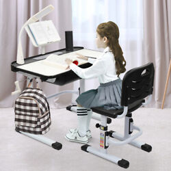 Kids Student Desk and Chair Set Adjustable Height Children Study Desk Lamp Black $153.18