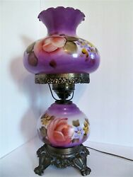 Antique Hurricane Lamp Handpainted Purple Large Glass Vintage Gone With The Wind $190.00