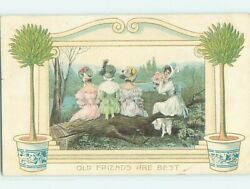 c1910 OLD FRIENDS ARE BEST 4 WOMEN IN COLORFUL DRESSES SITTING ON LOG HL4786 C $2.49