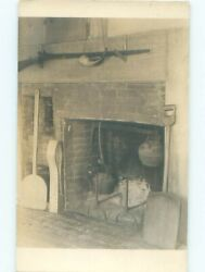 rppc 1920#x27;s LARGE METAL KETTLE HANGING IN FIREPLACE AC7894 C $3.44