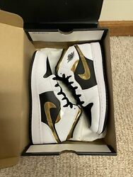 Jordan 1 Mid Gold White Black $150.00