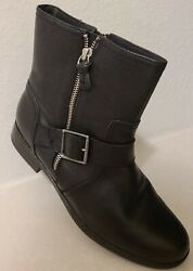 Clarks Merrian Lynn Leather Casual Biker Mid Calf Women's Harley Boots Black 10M $19.99