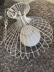 Vintage Mid Century Modern wire cage hanging swag lamp $99.00