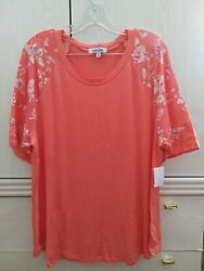 Mimi Chica Women#x27;s PLUS Raglan Floral Sleeve Baseball Top SIZE 1X $18.99