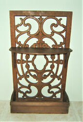 Vintage Wall Shelf Carved Wood Scroll Work 16quot; x 9 3 4quot; Handmade? $47.99