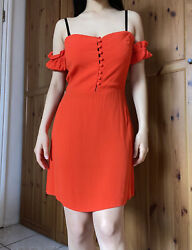 Flynn Skye Orange dress off the shoulder button summer dress Women#x27;s size Medium