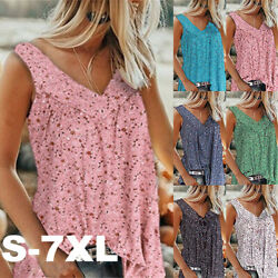 Womens Plus Size Sleeveless Floral Vest Tops Ladies Casual Tank Blouse Shirt New $11.99