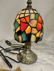 Small Brass lamp stained glass Mosaic shade Table Ornate Plug in Colorful $53.00