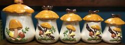 Set Of Five Vintage Ceramic Arnel#x27;s Mushroom Canister Set $125.00