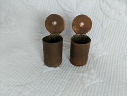 Antique Hand Hammered Copper Trench Art Match Holders for Wall Set of 2 $27.99