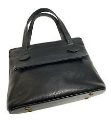 Justin Satchel Tote Bag Black Grain Pebble Leather Small Vintage $21.50