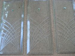 3 Rectangle Etched Glass Chandelier Replacement Prisms Beveled Edge Abstract $30.00