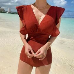 One Piece Swimsuits Women Push Up amp; Cap Sleeve Frill Trim Size M $16.99