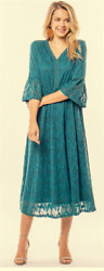 Teal Lace Crochet Dress Formal Casual Below Knee Length Bell Sleeve LDS Small $22.00