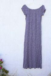 lush maxi rayon floral purple beige dress country peasant boho off shoulders M $25.99