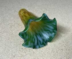 Vintage Lily Pad Lamp Glass Shade Green and Orange Yellow Lilly Pond 6 inch $28.50