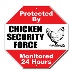 Protected By Chicken Security Novelty Funny Metal Sign Octagon $14.99