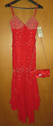New Lovely Xtreme Prom Red Size 4 Rhinestones Long Prom Dress With Clutch Purse