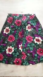 Women#x27;s Multi Colored Floral Buttoned Elastic Waist Rayon Skirt Plus Size 22W $14.50