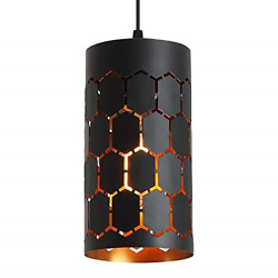 Contemporary Pendant Light with Cylindrical Metal Cage One Light Adjustable for $35.41