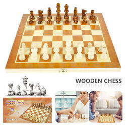 Chess Set Vintage Board Wooden Box Pieces Wood Game Carved Folding Complete $10.99
