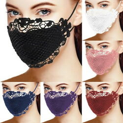Delicate Black Lace Applique Washable Adult Reusable Face Mask Mouth Covering #