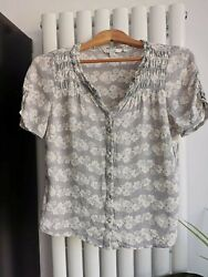 BODEN WOMANS SIZE 10 GREY PRINT FLORAL TOP SHIRT BLOUSE SUMMER FASHION TRENDY GBP 14.00