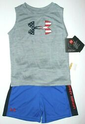 Boys 3T or 4T Under Armour 2 pc set Tank top Shorts Freedom Patriotic New $32 $19.95