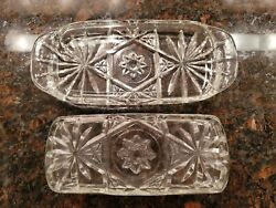 Vintage Anchor Hocking Star of David prescut Covered Butter Dish $25.00