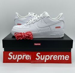 Nike Air Force 1 Low Supreme White Size 9.5 Style CU9225 100 Authentic DS $189.95