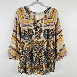 Valerie Stevens Size XL Tribal Printed Sheer Peasant Blouse Top Casual Trendy $15.29