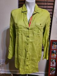 PECK amp; PECK Womens Size M Lime Green Long Sleeve Linen Button Up Collared Shirt $16.00