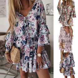 Women Long Sleeve V Neck Dress Floral Beach Dress Boho Summer Casual Mini Dress $9.99